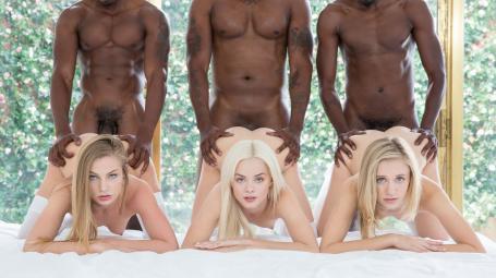 Blacked – Elsa Jean, Rachel James, Sydney Cole – Preppy Girl Threesome Get Three BBCs